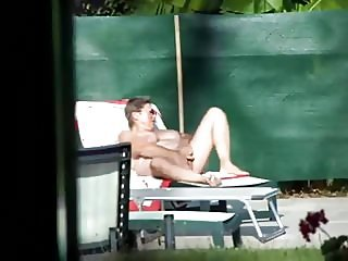 Mature Wanks While Sunbathing Voyeur Video