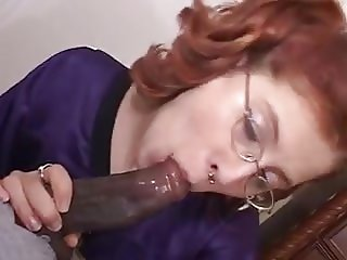 Red head bobby takes a huge black cock
