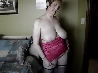 Mature busty doll shows up