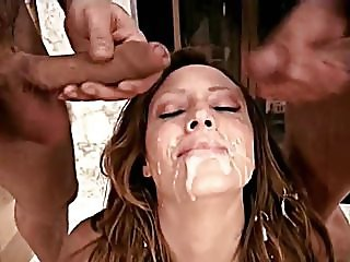 Brunette takes a messy double facial