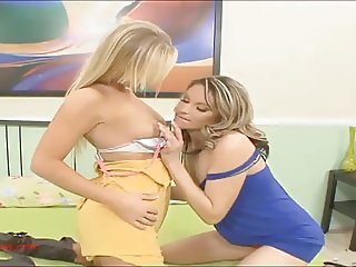 sexy hot blonds play with pink toy and strapon in each