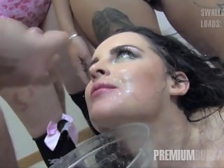 Premium Bukkake - Lola swallows 51 huge mouthful cum loads