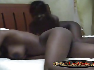 Amateur Busty African Lesbians Making Out In Bed