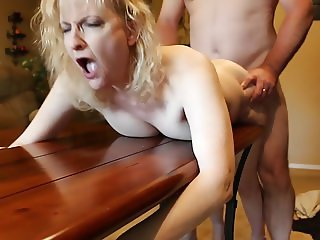 Mature Blonde Fucked with Dildo Spitroast