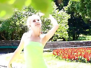 Cute russian girl Angela A nude in the garden