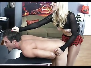 Hot Skinny Blonde Strapon Fucks Her Sub Male