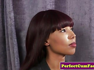 Black cocksucking beauty facialized pov