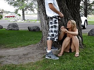 Fucking a young blonde under a tree