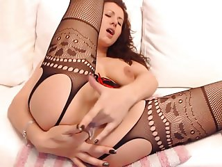 Beautiful Brunette Double Stuffs her ass and pussy