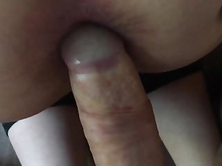Dipping my cock in and out of her dirty arse ass