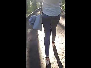 My girlfriend's petite ass and sexy legs on high heels
