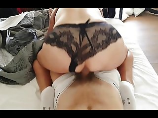 British Wife Nicole riding cock wearing white socks.mp4