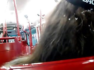 cum on hair public girl bus