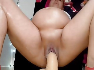 Pregnant girl cums hard and squirts creamy cum