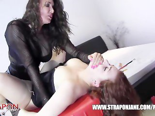 Femdom Strapon Jane spanks slut pussy toys face fucks and missionary sex