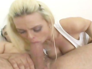 Teen blonde having sex at home