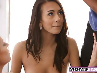 Hot Mom And Teen Trick Neighbor Boy Into Fucking