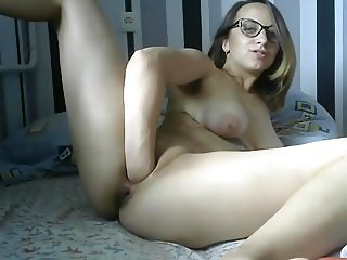 The Russian Girl with Glasses Fist Completely Naked