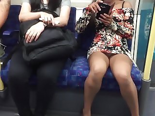 Daring Risky Public Upskirt Flashing On A Train