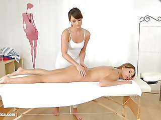 Magic massage - lesbian scene with Ally Breelsen and Ly