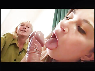 Granny Convinces Shy Teen To Suck Old Cock