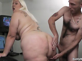 Busty blonde secretary sex at work