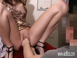 Brutally fisting and stretching his GFs loose pussy
