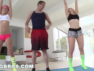 BANGBROS - Ashley Fires and Kenndedy Leigh Yoga and Anal Sex Threesome