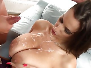 Spraying a massive cumshot on huge natural tits Sensual Jane