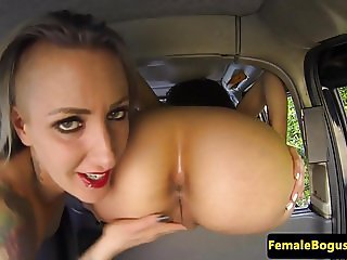 UK cabbie lesbian gets panties put in pussy