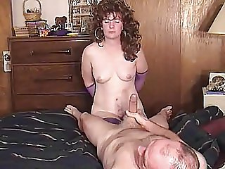 PERVERT FILMS HIS WIFE HANDCUFFED SUCKING HIS FRIENDS COCK
