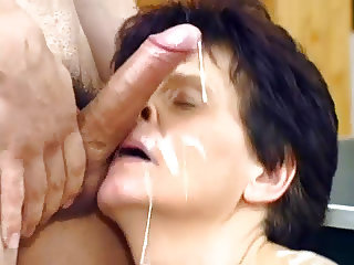 Hairy Granny Loves Facial Cumshot