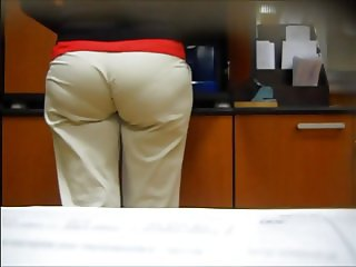 Big Booty Mature Milf Blonde in White Office Pants (Vpl)