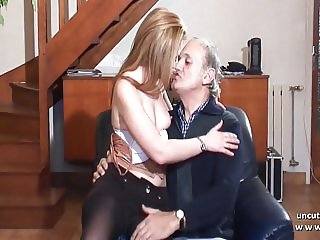 Amateur young french blonde fucked by a old man pervert