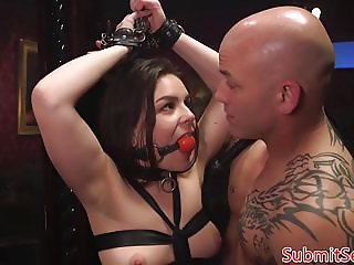 Tied up bdsm sub pussy fingered while gagged