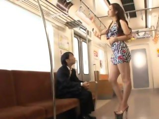 Giant erika takashita subjugates short man on subway