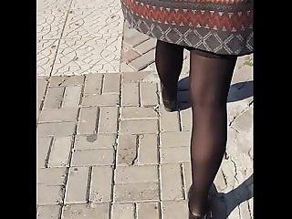Candid black pantyhose compilation
