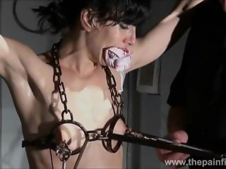 Electro bdsm and feet punishment of slave Elise Graves in dungeon tit pain