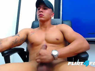 Felipe Borja on Flirt4Free Guys - Latino Stud's Monster Cock Shoots a Load