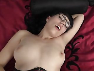 Nerdy Girl in Corset with nice tits fucks and sucks HFH