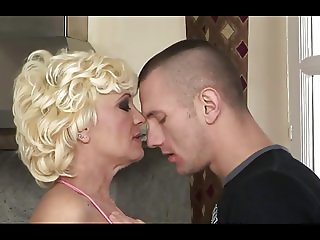 Hairy granny seduces young boy