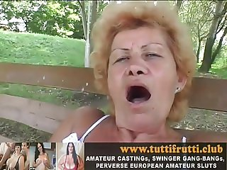 Granny Effie otdoor with huge dildos
