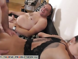 Cuckold lick sperm after gangbang from Nomi's pussy