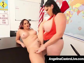 Curvy Cuban Angelina Castro & Gia Love StrapOn Fuck @ School