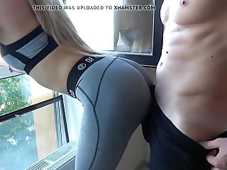 Blonde with sweet ass fucking at the open window