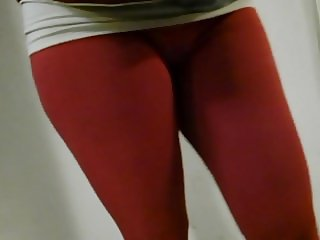 Hairdresser young mom red cameltoe in school