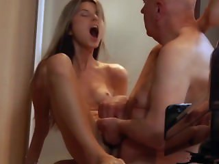 Young cutie girlfriend fucking old boyfriend caught watching porn
