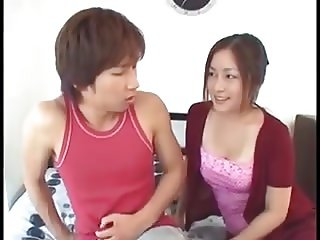 Japanese Mom Teaches Son After He Sees Her Tits