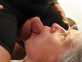 Grey haired granny blowjob