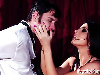 Femdom beauty ass fingered while doggystyled
